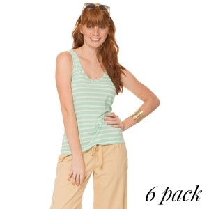 Striped tank top with interlaced back in mint. Pack of 6 (S-1, M-2, L-2, XL-1). 70% Polyester - 30% Rayon.