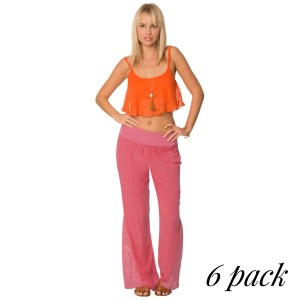 Gauze pants with crochet bell bottom flare and fold over waistband in coral. Pack of 6 (S-1, M-2, L-2, XL-1).  100% Rayon.