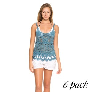 Crochet All Day Tank Top- Pack of 6 (1-S,2-M,2-L,1-XL)- 4-way stretch crochet tank top. 100% Cotton.