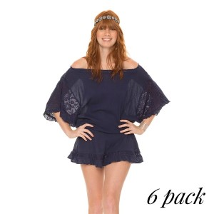 Beautiful Juliet Dress- Pack of 6 (1-S,2-M,2-L,1-XL)- Romeo needs to look no further than you in this gorgeous gauze cover up dress. Features crochet lace sleeves and ruffles for an off the shoulder look. Throw on a belt and you'll look like a beauty right out of a story book. 100% Cotton.