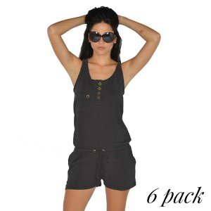 Back twill romper with chest and side pockets in black. Pack of 6 (S-1, M-2, L-2, XL-1). 100% Cotton.