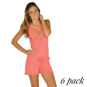 Back twill romper with chest and side pockets in coral. Pack of 6 (S-1, M-2, L-2, XL-1). 100% Cotton.
