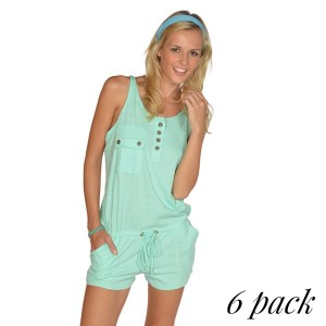 Back twill romper with chest and side pockets in mint. Pack of 6 (S-1, M-2, L-2, XL-1). 100% Cotton.