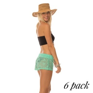 Dope & Dynamite Shorts - Pack of 6 (1-S,2-M,2-L,1-XL) -Hang loose in these super cute cover up shorts. The crochet design gives the perfect beachy look and feel. Throw it over a swimsuit and dip your toes in the sand.  95% Polyester - 5% Cotton.