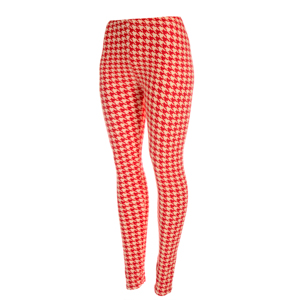 Peach skin crimson and ivory houndstooth printed leggings. Polyester and spandex blend. One size fits most.