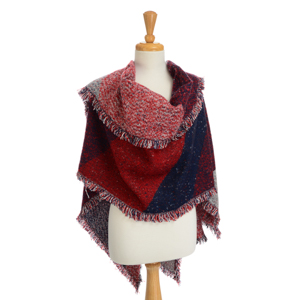 Red and blue heavyweight shawl with fringe. 100% Acrylic. One size fits most.
