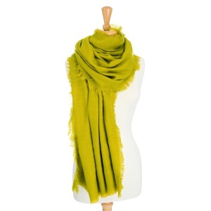 "Pear heavyweight blanket scarf with frayed edges. 100% acrylic. Approximately 40"" x 78""."