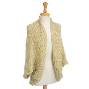 Heavyweight knitted beige kimono. 100% Acrylic. One size fits most.