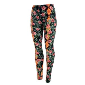 Black peach skin leggings with a multicolored floral print. Polyester and spandex blend. One size fits most.