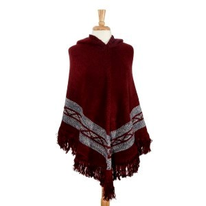 Burgundy Navajo pattern hoodie poncho. 100% Acrylic. One size fits most.