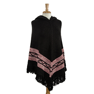 Black Navajo pattern hoodie poncho. 100% Acrylic. One size fits most.