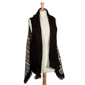 Black Navajo print vest. 100% Acrylic. One size fits most.