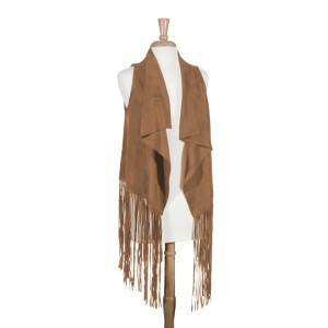 Camel vest with long fringe detail. 100% Polyester. One size fits most.