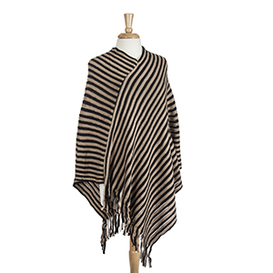 Black and brown striped poncho with fringe. 100% Acrylic. One size fits most.
