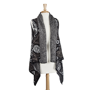 Black knit eyelash vest with gray and white paisley print. 100% Acrylic. One size fits most.