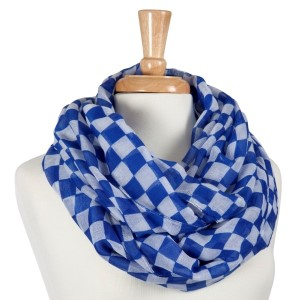 Blue and white chessboard pattern infinity scarf. 100% Polyester.