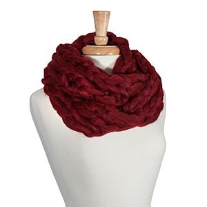 Crimson chunky knit infinity scarf. 100% Acrylic.