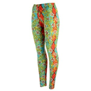 Turquoise peach skin leggings with a floral print and red tribal print. Polyester and spandex blend. One size fits most.