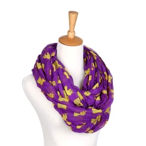 Purple and yellow infinity scarf with the state of Louisiana pattern. Made of 100% polyester.