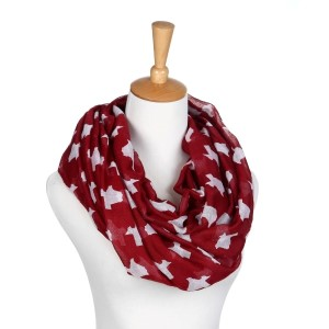 Maroon and white infinity scarf with the state of Texas pattern. Made of 100% polyester.