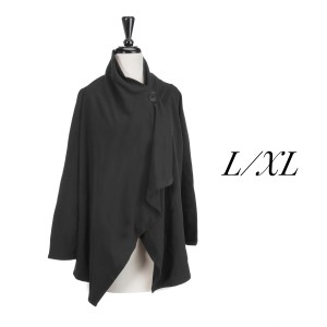 Black one button cardigan with an asymmetrical hem. Polyester, viscose, and elastic blend. Size L/XL.