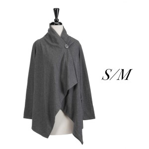 Gray one button cardigan with an asymmetrical hem. Polyester, viscose, and elastic blend. Size S/M.