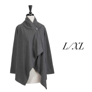 Gray one button cardigan with an asymmetrical hem. Polyester, viscose, and elastic blend. Size L/XL.