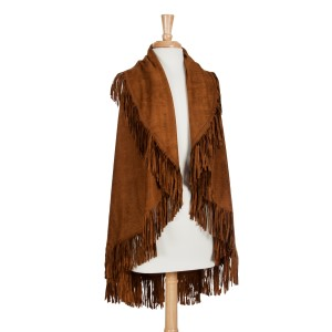 Brown faux suede fringe shawl vest. One size fits most. 100% Acrylic.