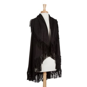 Black faux suede fringe shawl vest. One size fits most. 100% Acrylic.