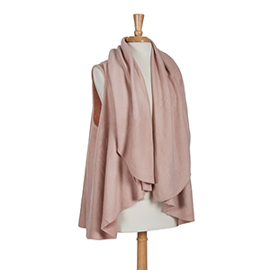Beautiful multi-functional heavyweight blush basic vest. Can be worn as a vest or cape. 100% Acrylic. One size fits most.