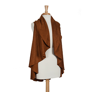 Brown faux suede shawl vest. One size fits most. 100% Acrylic.