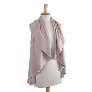 Blush faux suede shawl vest. One size fits most. 100% Acrylic.