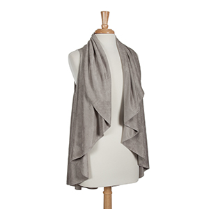 Gray faux suede shawl vest. One size fits most. 100% Acrylic.