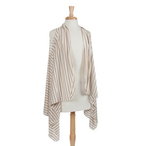 Cream with brown stripes lightweight jersey vest with long sides. 100% Polyester. One size fits most.
