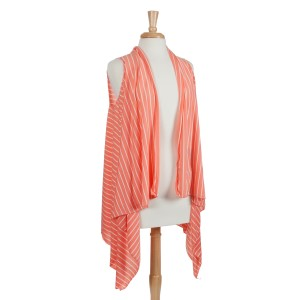 Coral with white stripes lightweight jersey vest with long sides. 100% Polyester. One size fits most.