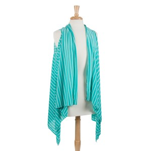 Mint with white stripes lightweight jersey vest with long sides. 100% Polyester. One size fits most.