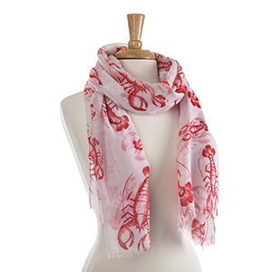 "Lightweight white and red lobster scarf. 100% Polyester. Approximately 36"" x 72""."