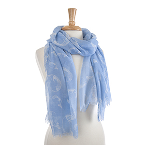 """Lightweight blue and white whale scarf. 100% Polyester. Approximately 36"""" x 72""""."""