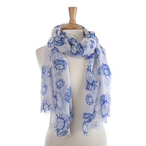 "Lightweight white and blue crab scarf. 100% Polyester. Approximately 36"" x 72""."