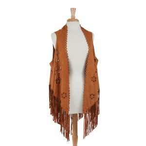 Brown faux suede laser cut vest with long fringe. 100% Polyester. One size fits most.