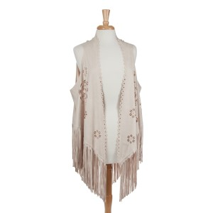 Ivory faux suede laser cut vest with long fringe. 100% Polyester. One size fits most.