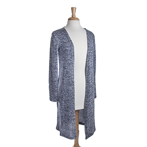 Navy heather knit long cardigan. 53% Viscose, 45% Polyester, and 2% Spandex. One size fits most.
