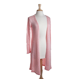 Coral heather knit long cardigan. 53% Viscose, 45% Polyester, and 2% Spandex. One size fits most.