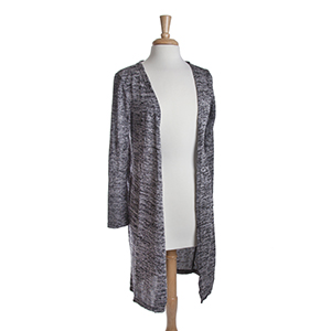 Black heather knit long cardigan. 53% Viscose, 45% Polyester, and 2% Spandex. One size fits most.