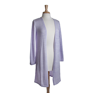 Lavender heather knit long cardigan. 53% Viscose, 45% Polyester, and 2% Spandex. One size fits most.