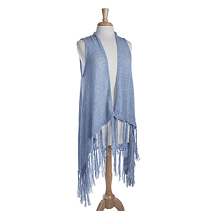 Long sky blue knit vest with fringe. 72% Acrylic and 28% Nylon. One size fits most.