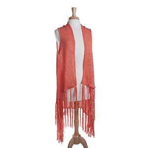 Long coral knit vest with fringe. 72% Acrylic and 28% Nylon. One size fits most.