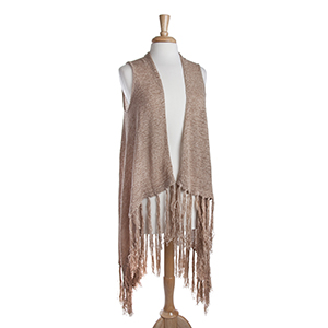 Long taupe knit vest with fringe. 72% Acrylic and 28% Nylon. One size fits most.