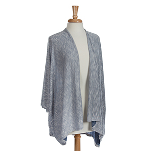 Navy and white knit kimono. One size fits most. 35% Viscose and 65% polyester.
