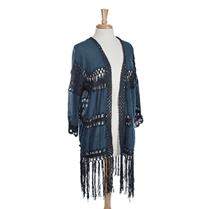"Navy crochet 3/4"" sleeve kimono with fringe. One size fits most. 65% Viscose and 35% polyester."